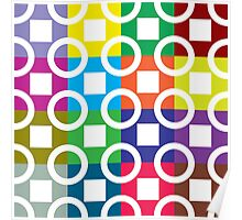 White Squares And Circles On Colourful Background Poster