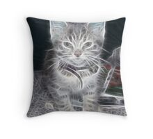 Fractilus..Kitty Throw Pillow