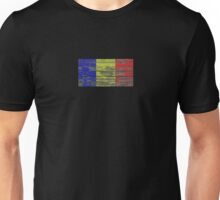 Flag of Romania on Rough Wood Boards Effect Unisex T-Shirt