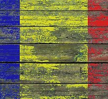 Flag of Romania on Rough Wood Boards Effect by Jeff Bartels