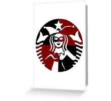 Quinn Coffee (Black+Red) Greeting Card