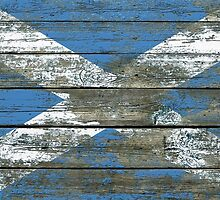 Flag of Scotland on Rough Wood Boards Effect by Jeff Bartels