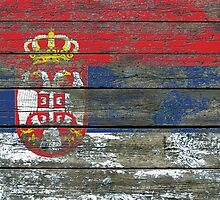 Flag of Serbia on Rough Wood Boards Effect by Jeff Bartels