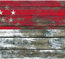 Flag of Singapore on Rough Wood Boards Effect Sticker