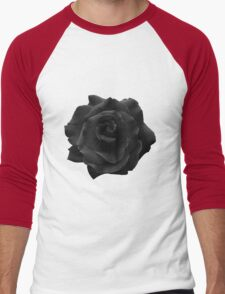 Single Large High Resolution Black Rose. Men's Baseball ¾ T-Shirt