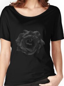 Single Large High Resolution Black Rose. Women's Relaxed Fit T-Shirt
