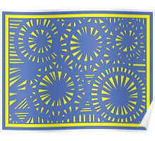 Czerkies Abstract Expression Yellow Blue Poster