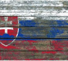 Flag of Slovakia on Rough Wood Boards Effect Sticker