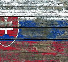 Flag of Slovakia on Rough Wood Boards Effect by Jeff Bartels