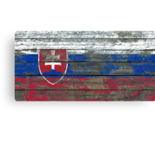 Flag of Slovakia on Rough Wood Boards Effect Canvas Print