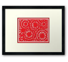 Sciara Abstract Expression Red White Framed Print