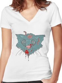 Zombie Frankenkitty Women's Fitted V-Neck T-Shirt