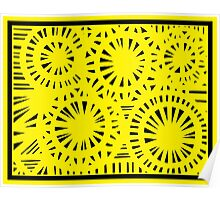Honohan Abstract Expression Yellow Black Poster