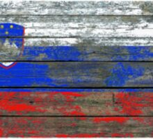 Flag of Slovenia on Rough Wood Boards Effect Sticker