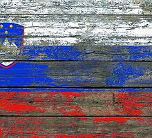 Flag of Slovenia on Rough Wood Boards Effect by Jeff Bartels