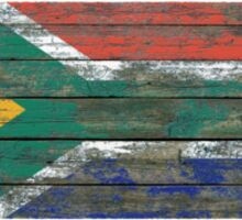 Flag of South Africa on Rough Wood Boards Effect Sticker