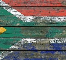 Flag of South Africa on Rough Wood Boards Effect by Jeff Bartels