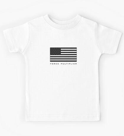 FORCE MULTIPLIER - AMERICAN FLAG (BLACK) Kids Tee