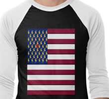 USA Pop Art Heart Flag, Hearts Between the Stars!! Men's Baseball ¾ T-Shirt