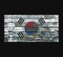 Flag of South Korea on Rough Wood Boards Effect One Piece - Short Sleeve