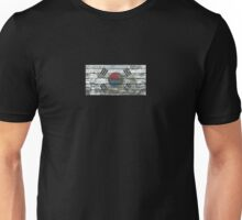 Flag of South Korea on Rough Wood Boards Effect Unisex T-Shirt