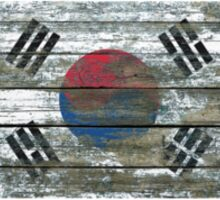 Flag of South Korea on Rough Wood Boards Effect Sticker