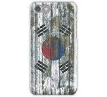 Flag of South Korea on Rough Wood Boards Effect iPhone Case/Skin