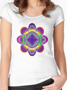 The rainbow flower Women's Fitted Scoop T-Shirt