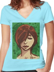 Tranquil Green Women's Fitted V-Neck T-Shirt