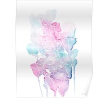 Pink and Blue Watercolor Flowers Poster