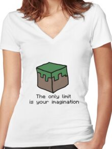 Minecraft Imagination Quote Women's Fitted V-Neck T-Shirt