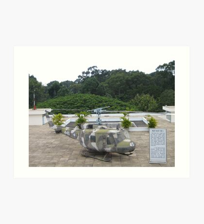 UH1 Helicopter used in Vietnam War at the rooftop of the Reunification Centre Art Print
