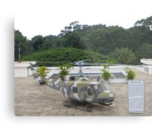 UH1 Helicopter used in Vietnam War at the rooftop of the Reunification Centre Metal Print