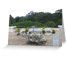 UH1 Helicopter used in Vietnam War at the rooftop of the Reunification Centre Greeting Card