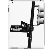 Cnr of Wall st and Broadway (Black and White) iPad Case/Skin