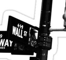 Cnr of Wall st and Broadway (Black and White) Sticker