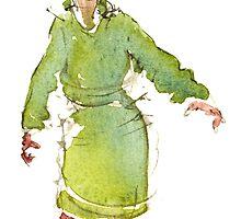 Woman in green coat by HikingArtistCom