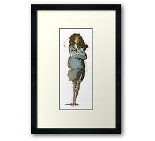 Girl in blue coat Framed Print