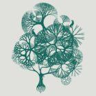 BIRDS & TREE - GIRLS TEE - GREEN PRINT by Allen Yeung