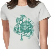 BIRDS & TREE - GIRLS TEE - GREEN PRINT Womens Fitted T-Shirt