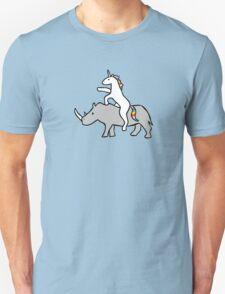 Unicorn Riding Rhino Unisex T-Shirt