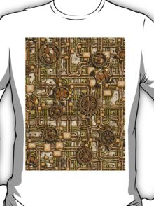 Steampunk Panel, Gears and Pipes - Brass T-Shirt