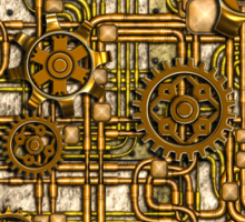 Steampunk Panel, Gears and Pipes - Brass Sticker