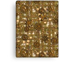 Steampunk Panel, Gears and Pipes - Brass Canvas Print