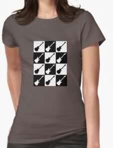 Electric Guitar Checkerboard Womens Fitted T-Shirt