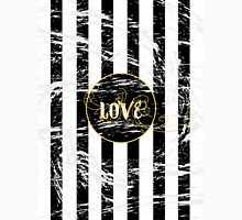 Grunge Love with Black and White Stripes and Gold Accents Unisex T-Shirt