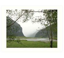 Misty valley Art Print