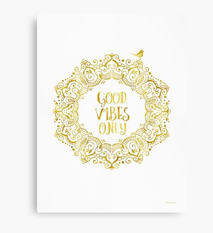 Good Vibes Only Golden Canvas Print