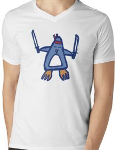 Penguin Ninja Mens V-Neck T-Shirt