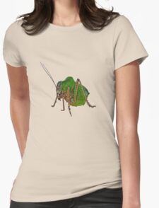 Katydid Vector On A Black Background Womens Fitted T-Shirt
